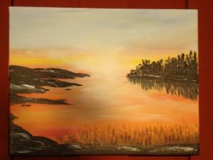 """ Kvällssol"" Totalmått: 27 x 35 cm utan ram, kantmålad Pris: 800:- SEK"